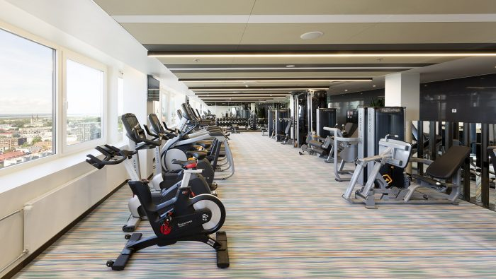Well-equipped gym with a view - Fitness Centre Club 26 at Radisson Blu Hotel Olümpia, Tallinn