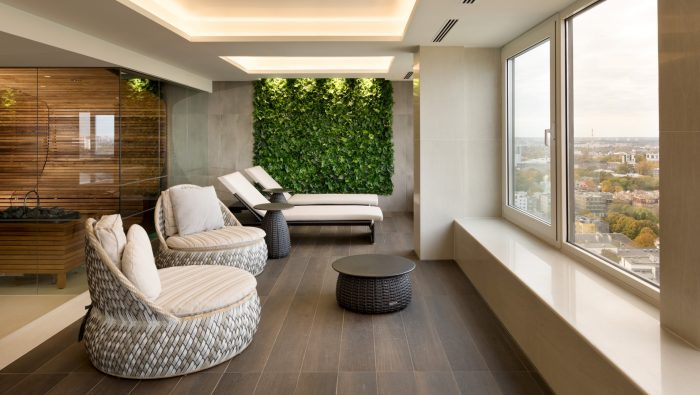 Relaxation area with a view to Tallinn Old Town - Health Centre Club 26 at Radisson Blu Hotel Olümpia, Tallinn